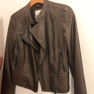 BB Dakota vegan leather chocolate Moto Jacket